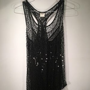 Free People Intimately Sequin/Tulle Black Dress